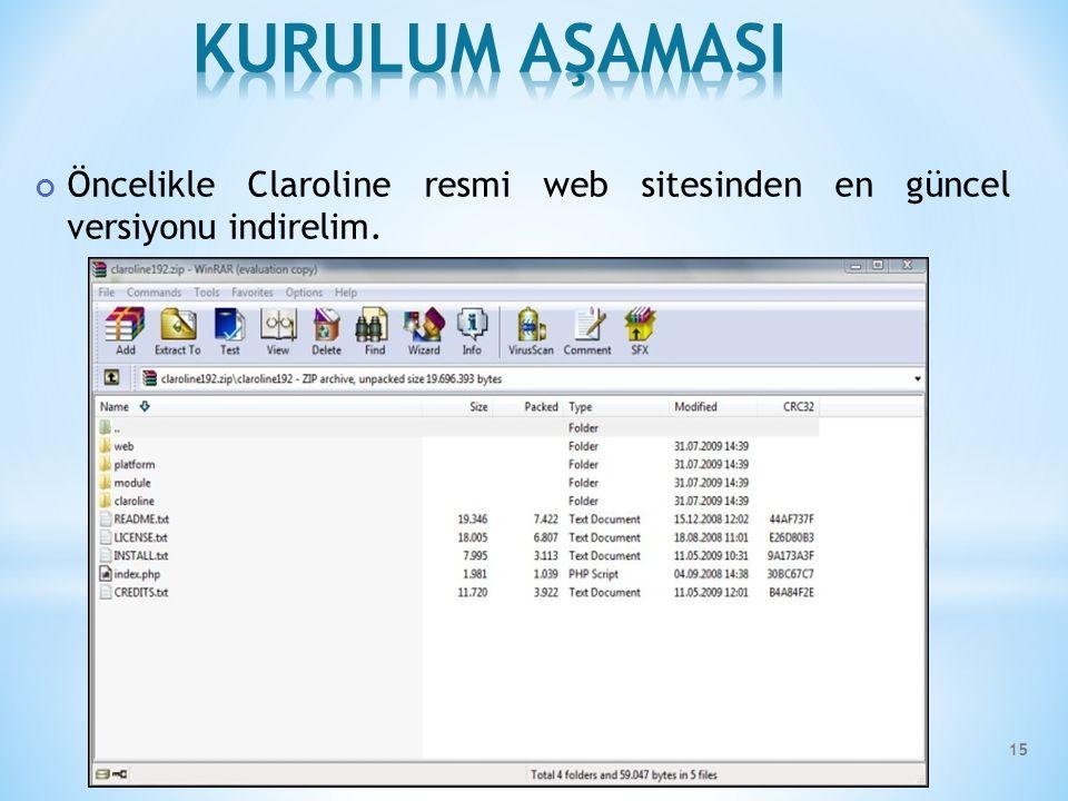 Öncelikle Claroline resmi web sitesinden en güncel versiyonu indirelim. 15