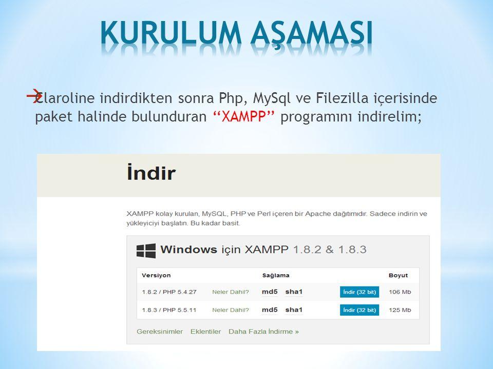  Claroline indirdikten sonra Php, MySql ve Filezilla içerisinde paket halinde bulunduran ''XAMPP'' programını indirelim;