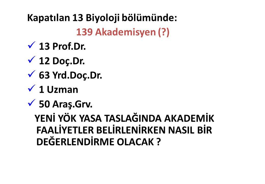 Kapatılan 13 Biyoloji bölümünde: 139 Akademisyen (?) 13 Prof.Dr. 12 Doç.Dr. 63 Yrd.Doç.Dr. 1 Uzman 50 Araş.Grv. YENİ YÖK YASA TASLAĞINDA AKADEMİK FAAL