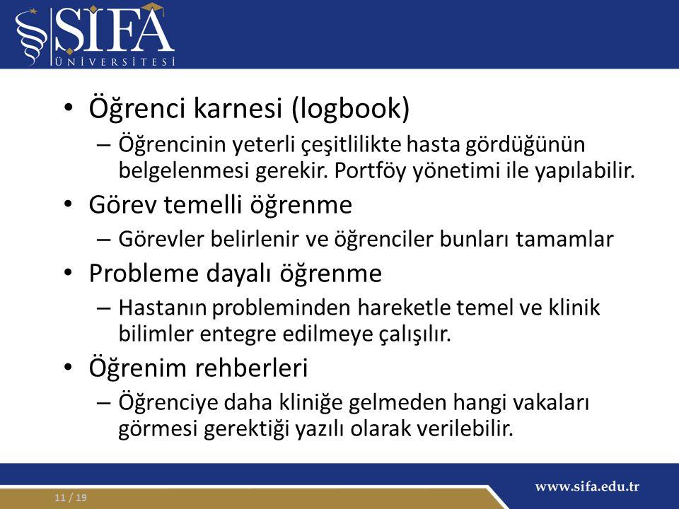 Öğrenci karnesi (logbook) – Öğrencinin yeterli çeşitlilikte hasta gördüğünün belgelenmesi gerekir.