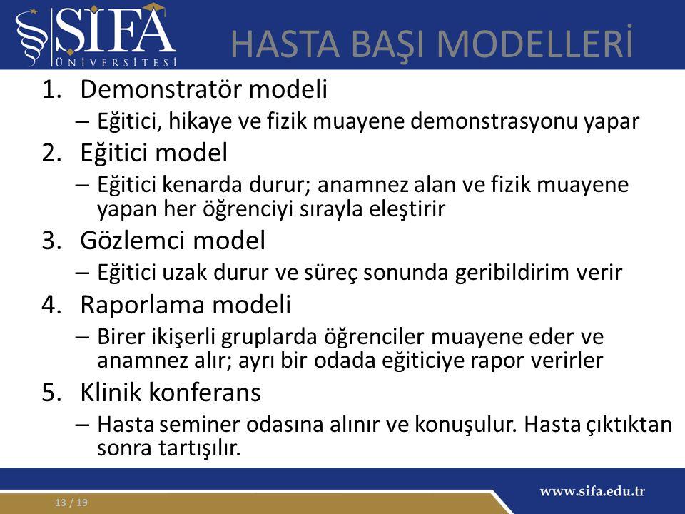 / 1913 HASTA BAŞI MODELLERİ 1.Demonstratör modeli – Eğitici, hikaye ve fizik muayene demonstrasyonu yapar 2.Eğitici model – Eğitici kenarda durur; anamnez alan ve fizik muayene yapan her öğrenciyi sırayla eleştirir 3.Gözlemci model – Eğitici uzak durur ve süreç sonunda geribildirim verir 4.Raporlama modeli – Birer ikişerli gruplarda öğrenciler muayene eder ve anamnez alır; ayrı bir odada eğiticiye rapor verirler 5.Klinik konferans – Hasta seminer odasına alınır ve konuşulur.