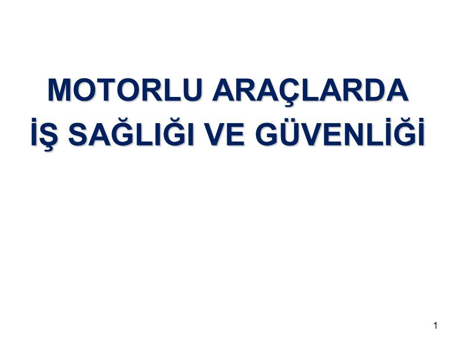 Motorlu Araçlar 1.Yolcu Taşıma (Otobüs, minbüs vb..) 2.Yük Taşıma (Kamyon, tır, tanker vb…) 3.İş Makineleri (Kaldırma, Kazma, Delme/Tünel Açma, Asfalt Serme, Tarım makineleri) 30.05.20162