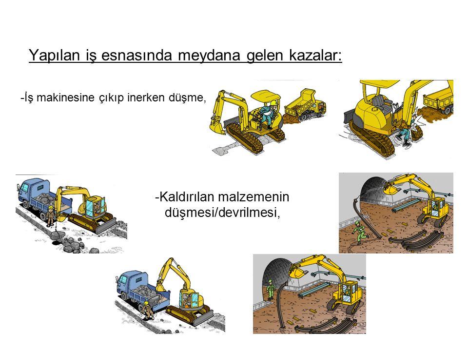 Yapılan iş esnasında meydana gelen kazalar: -İş makinesine çıkıp inerken düşme, -Kaldırılan malzemenin düşmesi/devrilmesi,