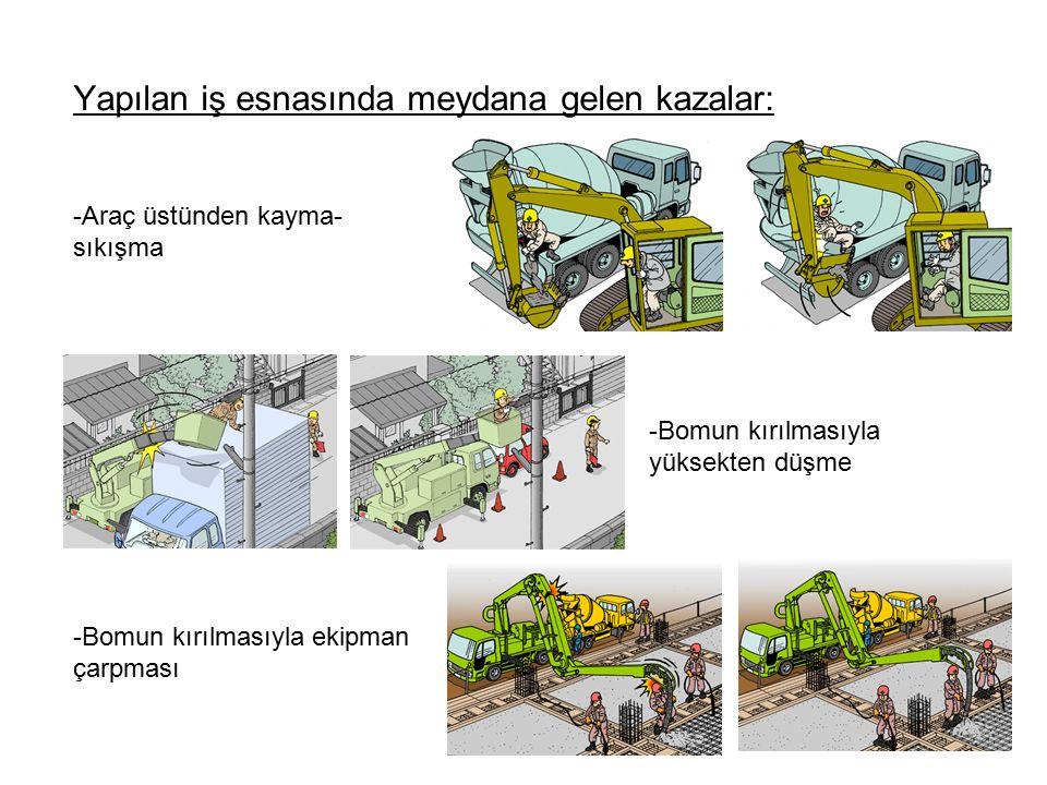 Yapılan iş esnasında meydana gelen kazalar: -Bomun kırılmasıyla yüksekten düşme -Araç üstünden kayma- sıkışma -Bomun kırılmasıyla ekipman çarpması