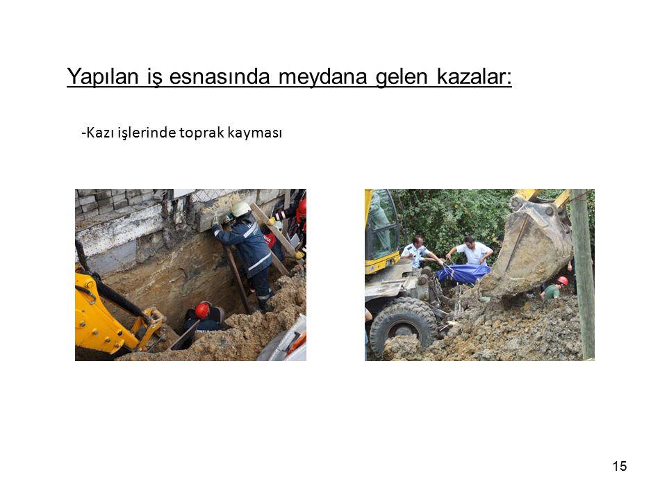 15 -Kazı işlerinde toprak kayması Yapılan iş esnasında meydana gelen kazalar: