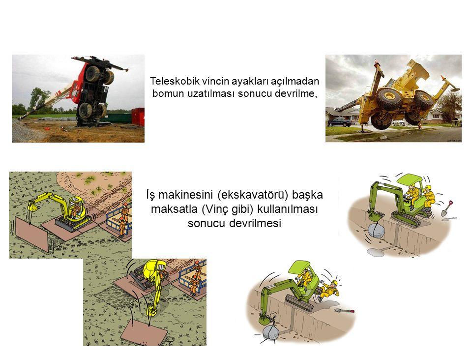 İş makinesini (ekskavatörü) başka maksatla (Vinç gibi) kullanılması sonucu devrilmesi Teleskobik vincin ayakları açılmadan bomun uzatılması sonucu devrilme,