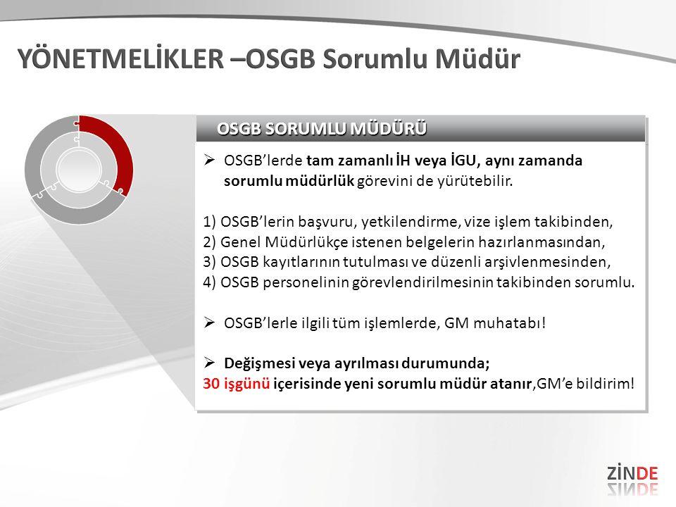 OSGB SORUMLU MÜDÜRÜ  OSGB'lerde tam zamanlı İH veya İGU, aynı zamanda sorumlu müdürlük görevini de yürütebilir. 1) OSGB'lerin başvuru, yetkilendirme,