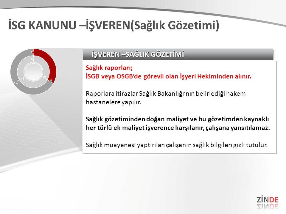 İŞVEREN –SAĞLIK GÖZETİMİ Sağlık raporları; İSGB veya OSGB'de görevli olan İşyeri Hekiminden alınır. Raporlara itirazlar Sağlık Bakanlığı'nın belirledi