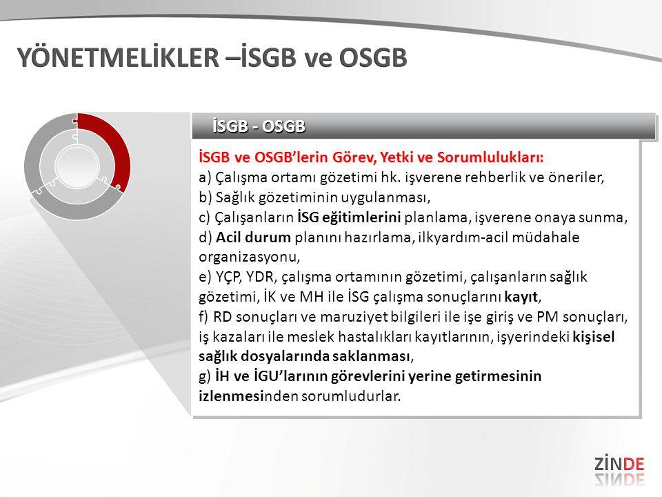 İSGB - OSGB İSGB ve OSGB'lerin Görev, Yetki ve Sorumlulukları: a) Çalışma ortamı gözetimi hk. işverene rehberlik ve öneriler, b) Sağlık gözetiminin uy