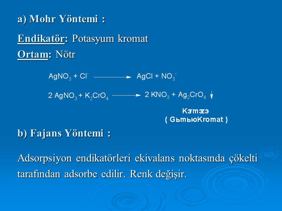 a) Mohr Yöntemi : Endikatör: Potasyum kromat Ortam: Nötr b) Fajans Yöntemi : Adsorpsiyon endikatörleri ekivalans noktasında çökelti tarafından adsorbe edilir.