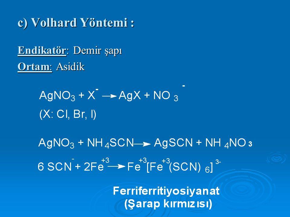 c) Volhard Yöntemi : Endikatör: Demir şapı Ortam: Asidik - 3