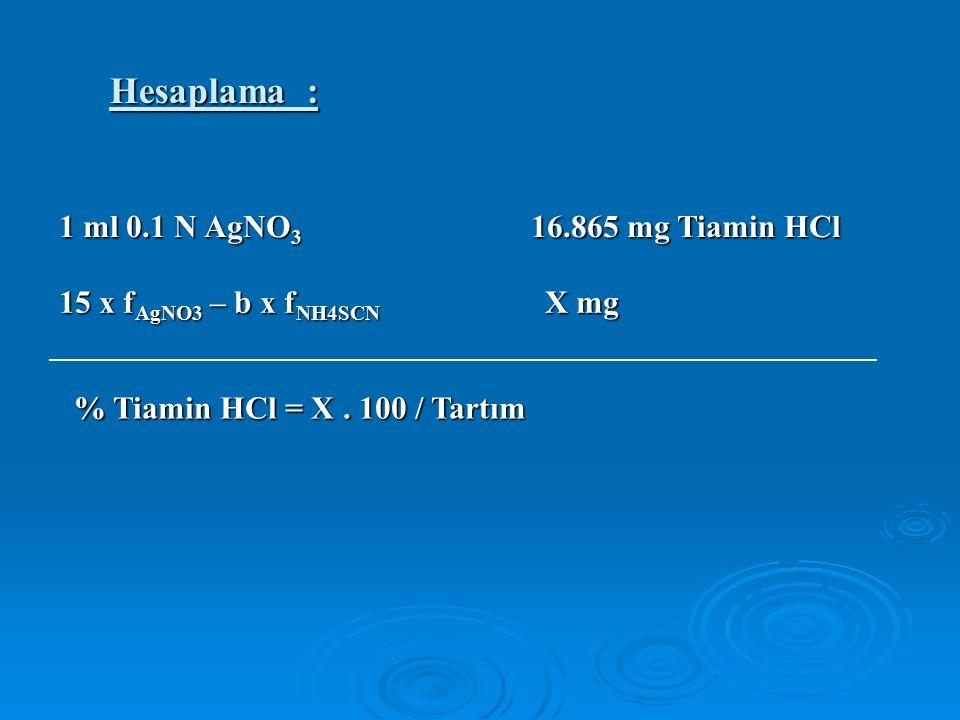 Hesaplama : 1 ml 0.1 N AgNO 3 16.865 mg Tiamin HCl 15 x f AgNO3 – b x f NH4SCN X mg % Tiamin HCl = X.