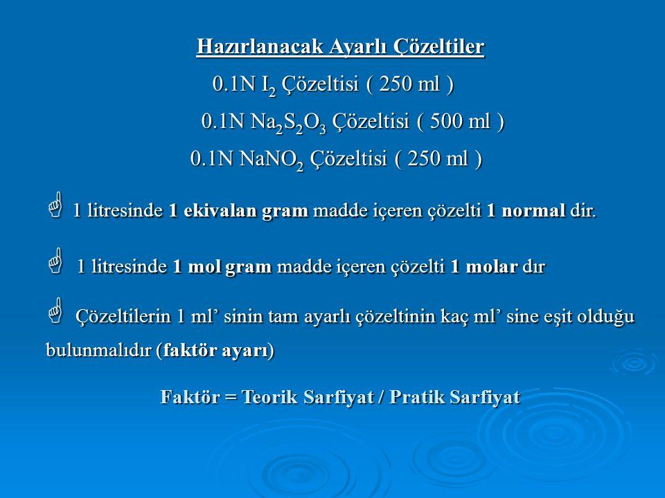 Hazırlanacak Ayarlı Çözeltiler 0.1N I 2 Çözeltisi ( 250 ml ) 0.1N I 2 Çözeltisi ( 250 ml ) 0.1N Na 2 S 2 O 3 Çözeltisi ( 500 ml ) 0.1N Na 2 S 2 O 3 Çözeltisi ( 500 ml ) 0.1N NaNO 2 Çözeltisi ( 250 ml ) 0.1N NaNO 2 Çözeltisi ( 250 ml )  1 litresinde 1 ekivalan gram madde içeren çözelti 1 normal dir.
