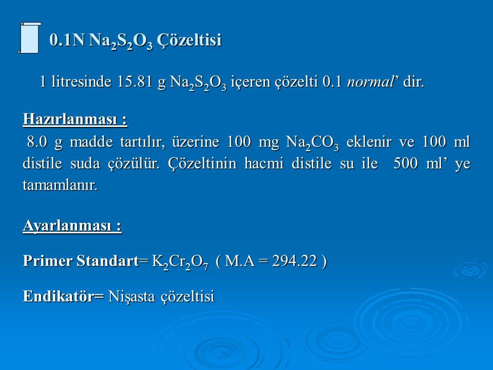 0.1N Na 2 S 2 O 3 Çözeltisi 1 litresinde 15.81 g Na 2 S 2 O 3 içeren çözelti 0.1 normal' dir.