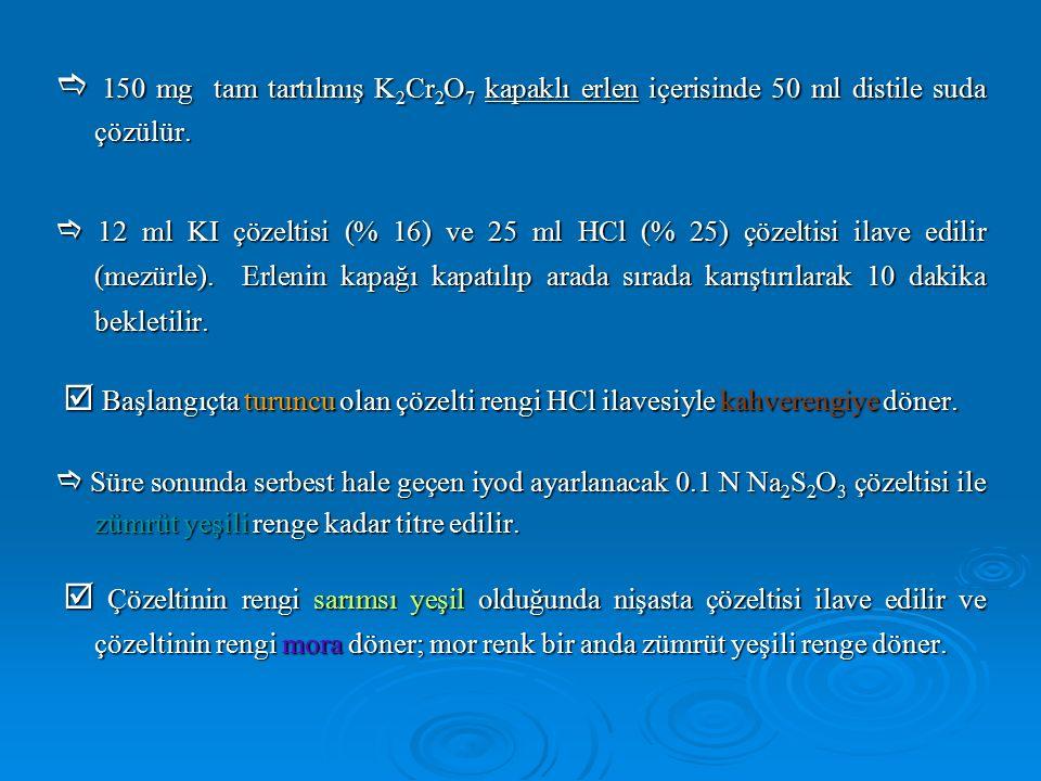  150 mg tam tartılmış K 2 Cr 2 O 7 kapaklı erlen içerisinde 50 ml distile suda çözülür.