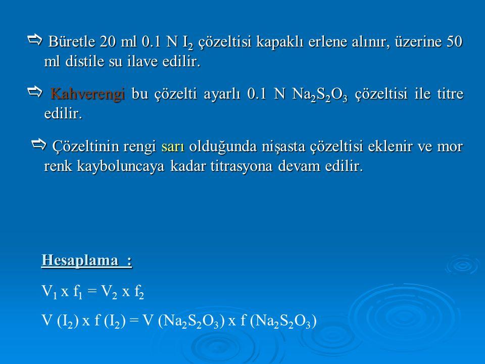  Büretle 20 ml 0.1 N I 2 çözeltisi kapaklı erlene alınır, üzerine 50 ml distile su ilave edilir.