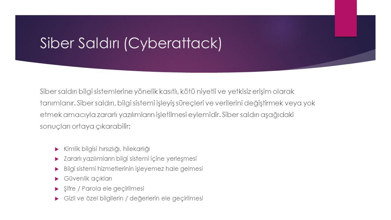 Siber Saldırı (Cyberattack) Siber saldırı bilgi sistemlerine yönelik kasıtlı, kötü niyetli ve yetkisiz erişim olarak tanımlanır. Siber saldırı, bilgi