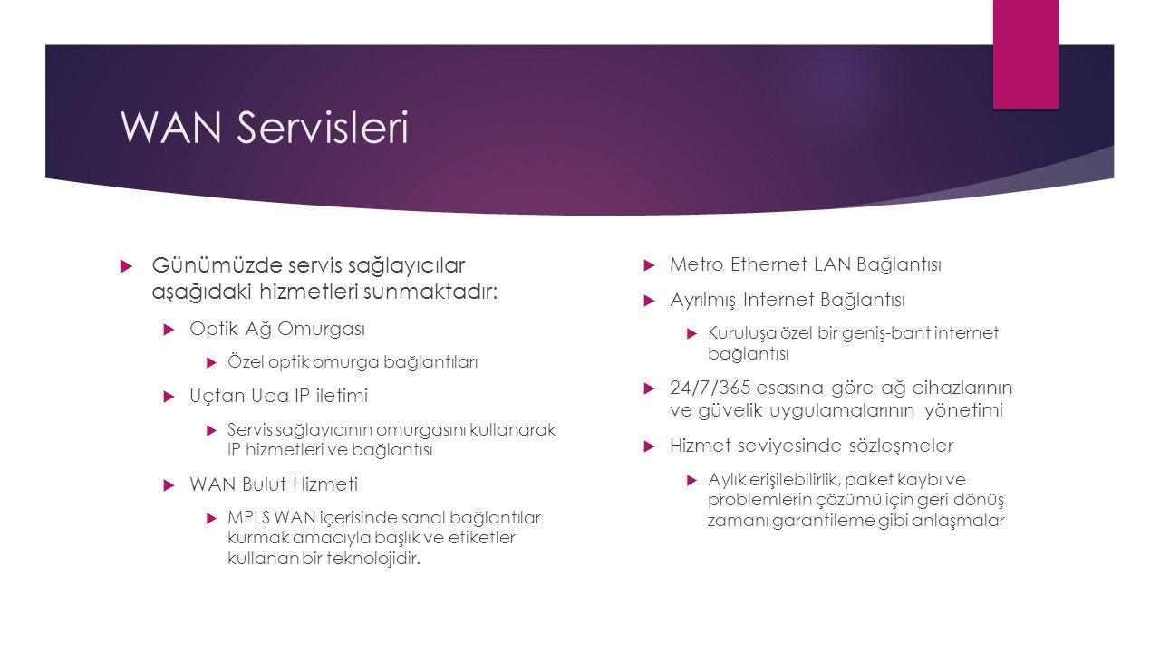 WAN Servisleri  Günümüzde servis sağlayıcılar aşağıdaki hizmetleri sunmaktadır:  Optik Ağ Omurgası  Özel optik omurga bağlantıları  Uçtan Uca IP i