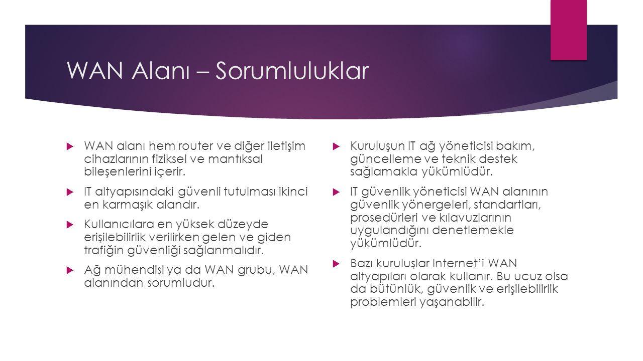 WAN Alanı – Sorumluluklar  WAN alanı hem router ve diğer iletişim cihazlarının fiziksel ve mantıksal bileşenlerini içerir.  IT altyapısındaki güvenl