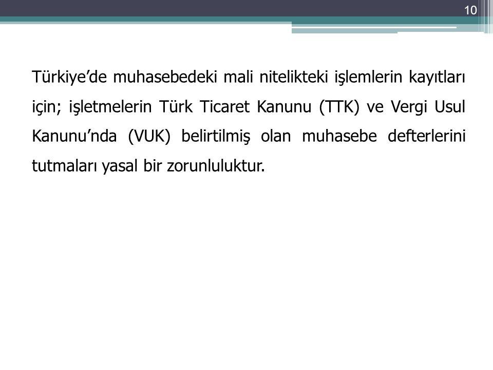 Türkiye'de muhasebedeki mali nitelikteki işlemlerin kayıtları için; işletmelerin Türk Ticaret Kanunu (TTK) ve Vergi Usul Kanunu'nda (VUK) belirtilmiş