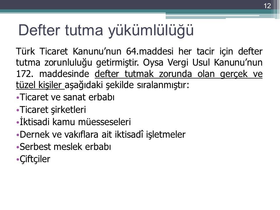 Defter tutma yükümlülüğü Türk Ticaret Kanunu'nun 64.maddesi her tacir için defter tutma zorunluluğu getirmiştir. Oysa Vergi Usul Kanunu'nun 172. madde