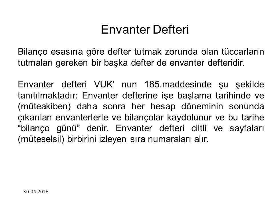 Envanter Defteri Bilanço esasına göre defter tutmak zorunda olan tüccarların tutmaları gereken bir başka defter de envanter defteridir. Envanter defte