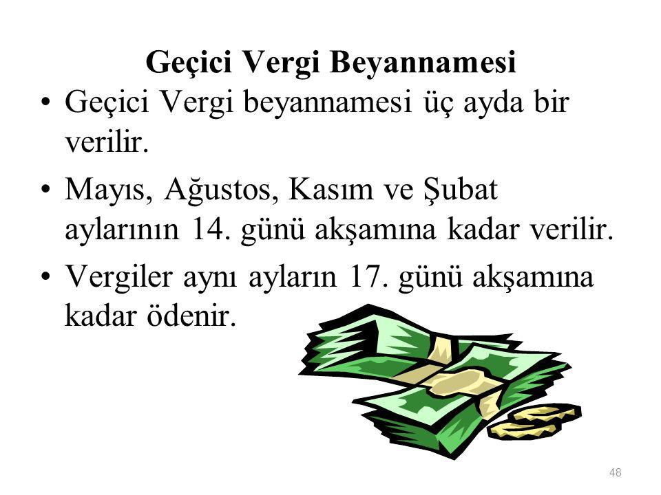 48 Geçici Vergi Beyannamesi Geçici Vergi beyannamesi üç ayda bir verilir.