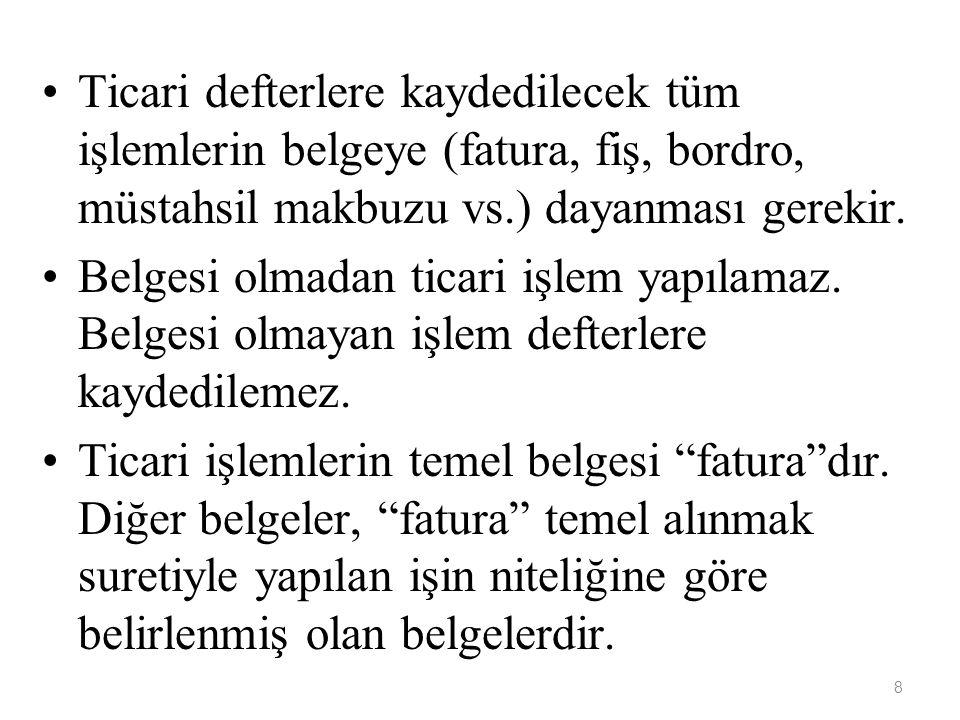 39 TİCARİ DEFTERLER Türk Ticaret Kanunu, Vergi Kanunları ve ilgili diğer kanunlar uyarınca, ticaretle uğraşanlar bazı ticari defterleri tutmak zorundadırlar.