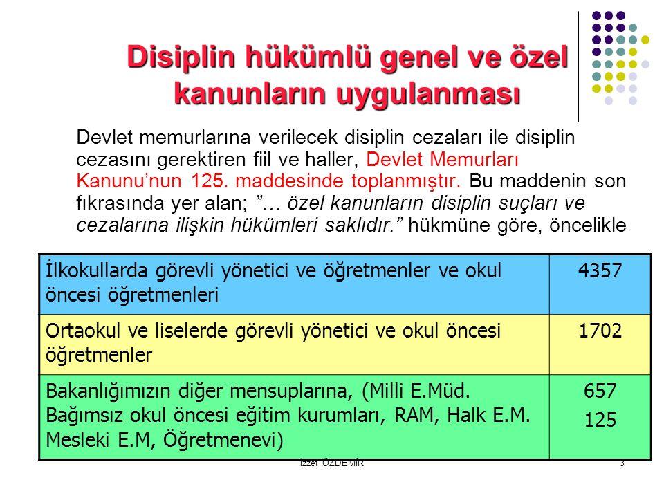 3 Disiplin hükümlü genel ve özel kanunların uygulanması Devlet memurlarına verilecek disiplin cezaları ile disiplin cezasını gerektiren fiil ve haller