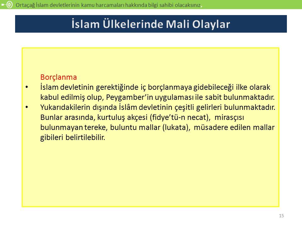 Ortaçağ İslam devletlerinin kamu harcamaları hakkında bilgi sahibi olacaksınız, açıklayabilecek 15 Borçlanma İslam devletinin gerektiğinde iç borçlanm