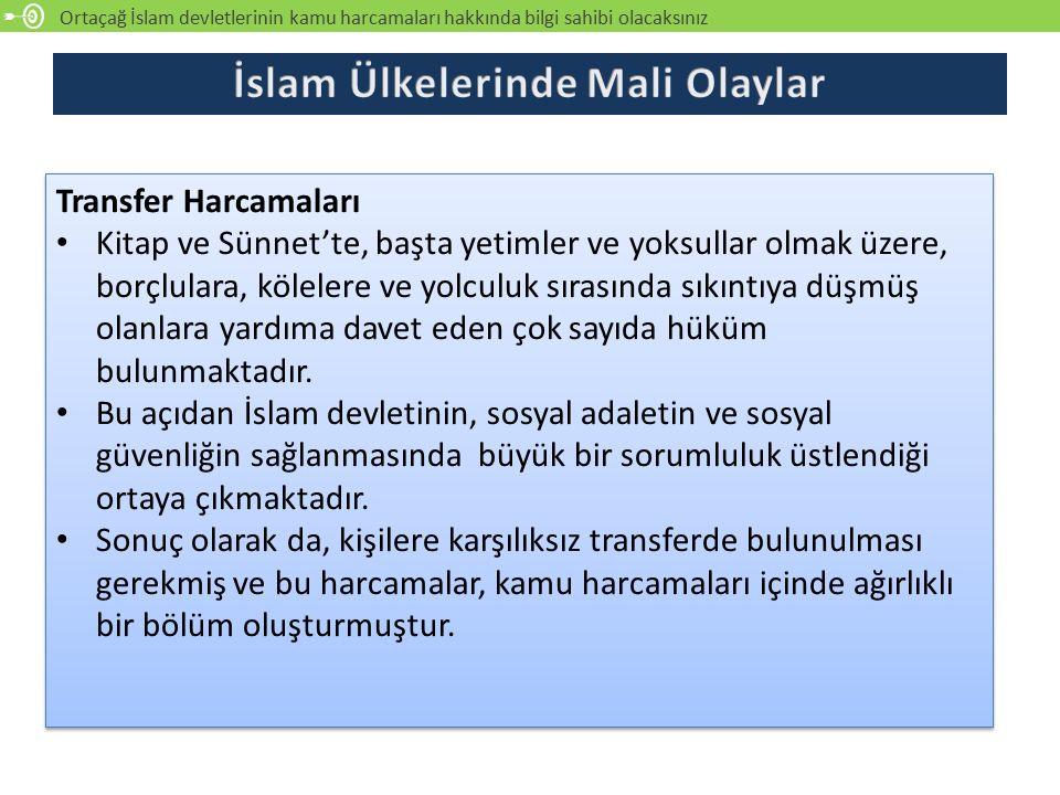 Ortaçağ İslam devletlerinin kamu harcamaları hakkında bilgi sahibi olacaksınız Transfer Harcamaları Kitap ve Sünnet'te, başta yetimler ve yoksullar ol