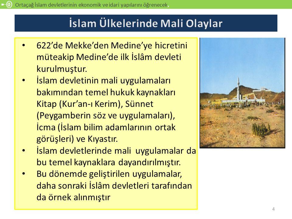 Ortaçağ İslam devletlerinin ekonomik ve idari yapılarını öğrenecek, açıklayabilecek 4 622'de Mekke'den Medine'ye hicretini müteakip Medine'de ilk İslâm devleti kurulmuştur.