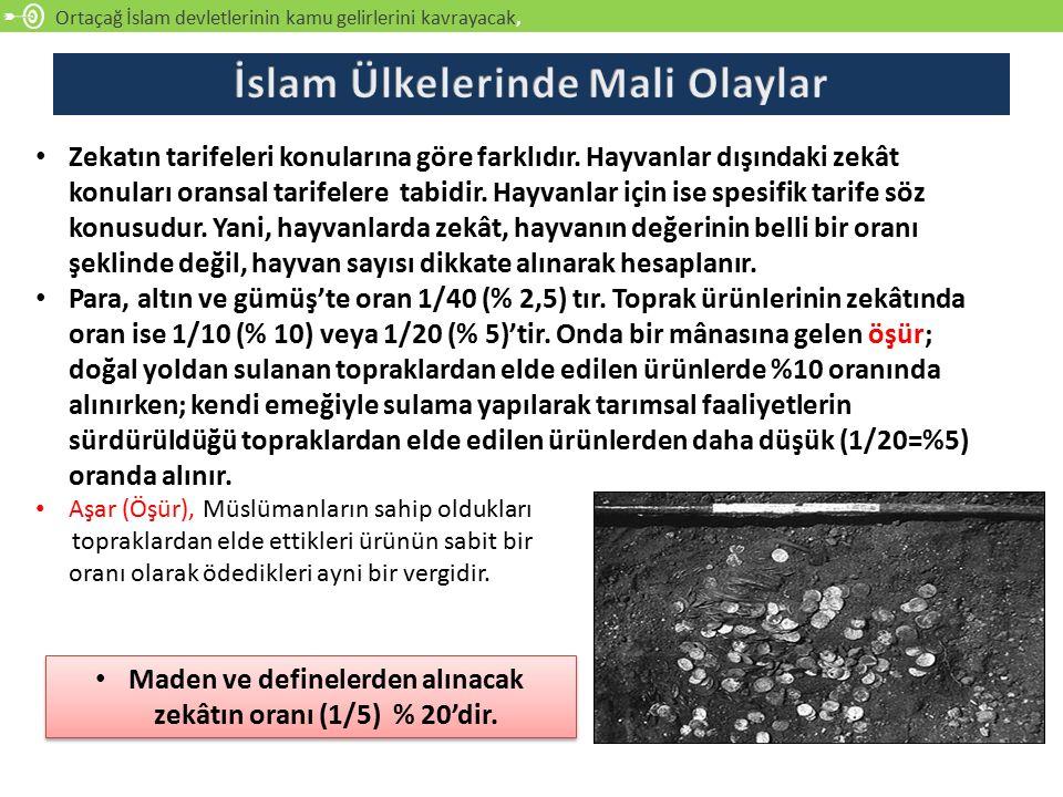 Ortaçağ İslam devletlerinin kamu gelirlerini kavrayacak, Zekatın tarifeleri konularına göre farklıdır.
