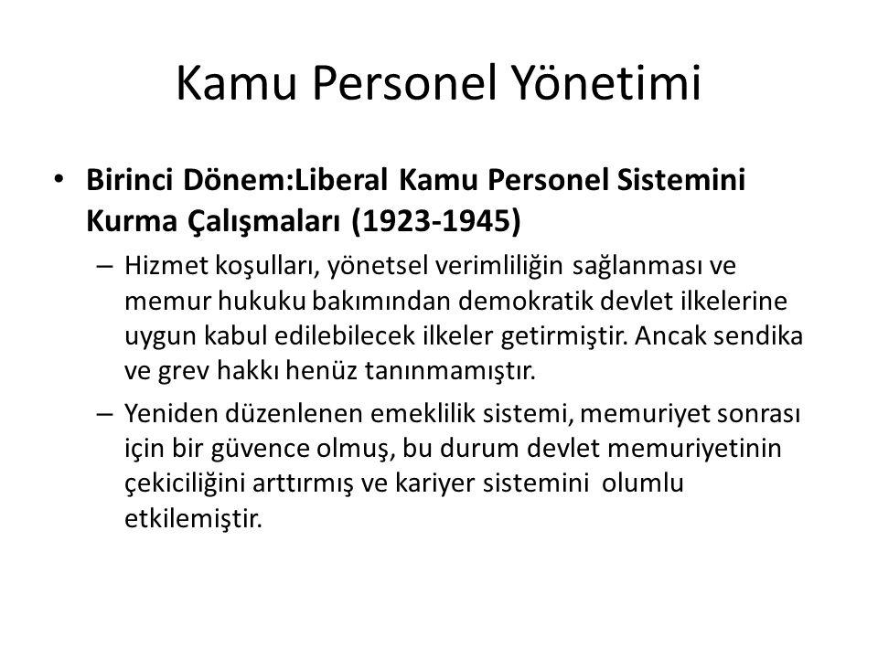 Kamu Personel Yönetimi Birinci Dönem:Liberal Kamu Personel Sistemini Kurma Çalışmaları (1923-1945) – Hizmet koşulları, yönetsel verimliliğin sağlanmas