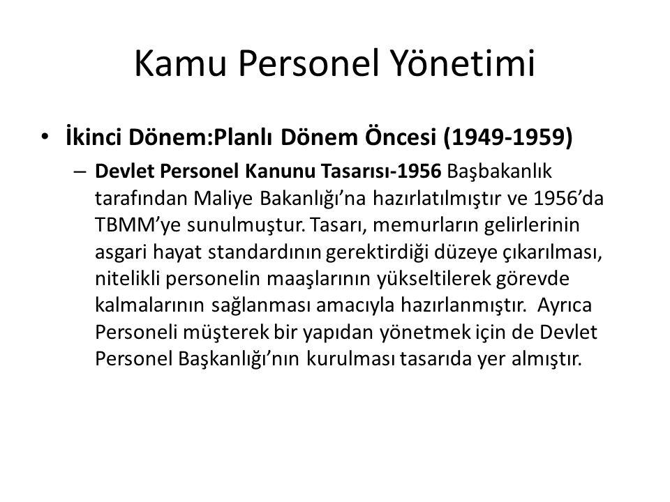 Kamu Personel Yönetimi İkinci Dönem:Planlı Dönem Öncesi (1949-1959) – Devlet Personel Kanunu Tasarısı-1956 Başbakanlık tarafından Maliye Bakanlığı'na