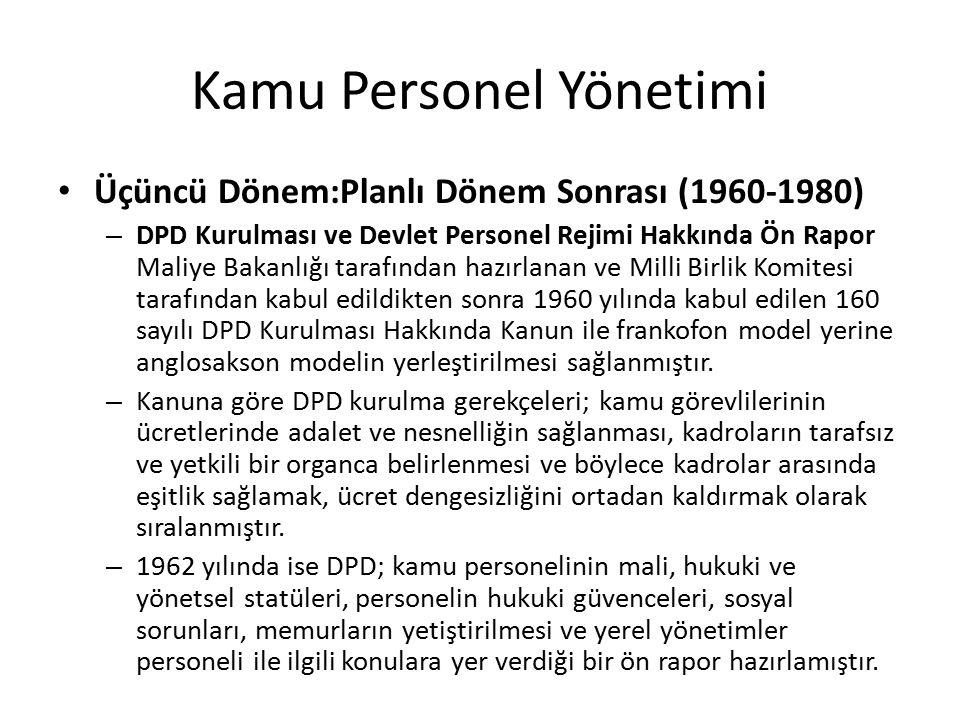 Kamu Personel Yönetimi Üçüncü Dönem:Planlı Dönem Sonrası (1960-1980) – DPD Kurulması ve Devlet Personel Rejimi Hakkında Ön Rapor Maliye Bakanlığı tara