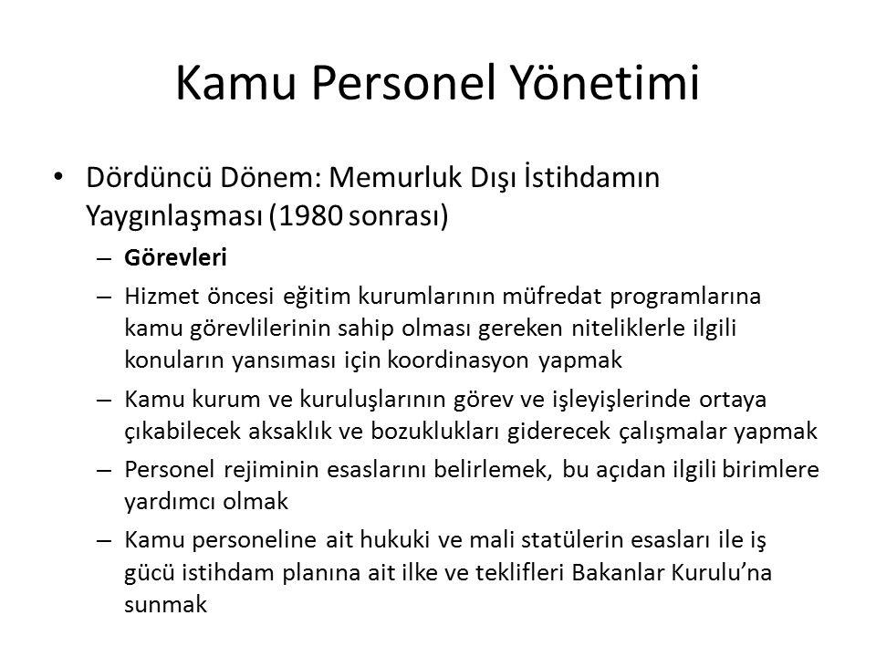Kamu Personel Yönetimi Dördüncü Dönem: Memurluk Dışı İstihdamın Yaygınlaşması (1980 sonrası) – Görevleri – Hizmet öncesi eğitim kurumlarının müfredat