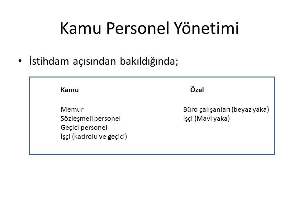 Kamu Personel Yönetimi Kamu personel yönetiminin gelişimi Türkiye için 4 dönem halinde ele alınabilir: -Liberal kamu personel sistemini kurma çabaları (1923-1945) -Yabancı uzmanlarca hazırlanan raporlar (1949-1959) -Planlı kalkınma dönemi (1960-1980) -Memurluk dışı istihdamın yaygınlaşması (1980 sonrası)