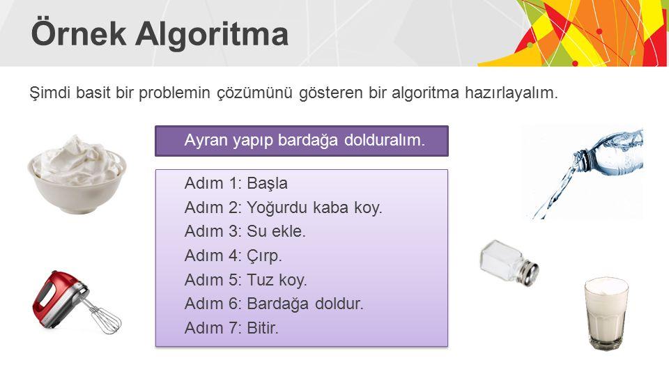 Örnek Algoritma Şimdi basit bir problemin çözümünü gösteren bir algoritma hazırlayalım. Ayran yapıp bardağa dolduralım.