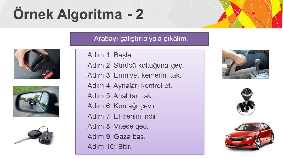 Örnek Algoritma - 2 Arabayı çalıştırıp yola çıkalım.