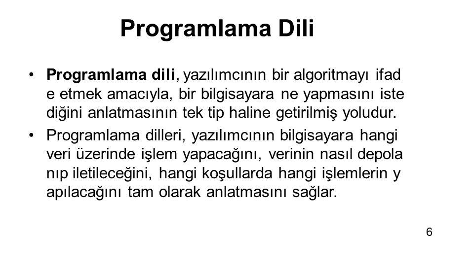 Tüm yazılımlar bir progr amlama dili kullanılarak üretilmiştir. 7