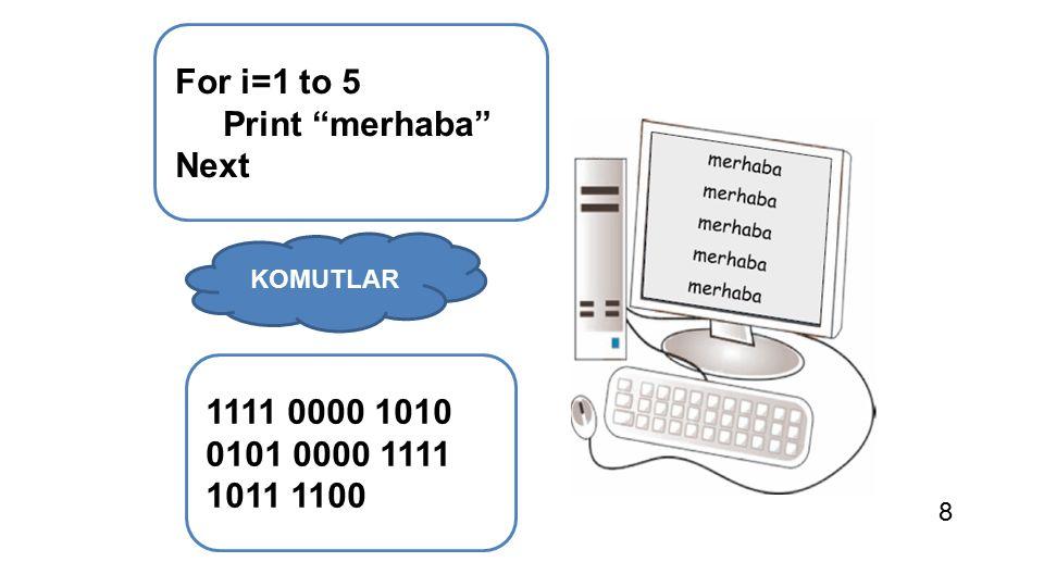 """For i=1 to 5 Print """"merhaba"""" Next 1111 0000 1010 0101 0000 1111 1011 1100 KOMUTLAR 8"""