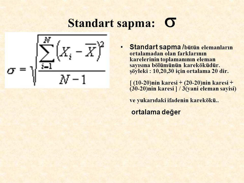 Standart sapma:  Standart sapma / bütün elemanların ortalamadan olan farklarının karelerinin toplamanının eleman sayısına bölümünün kareköküdür. şöyl