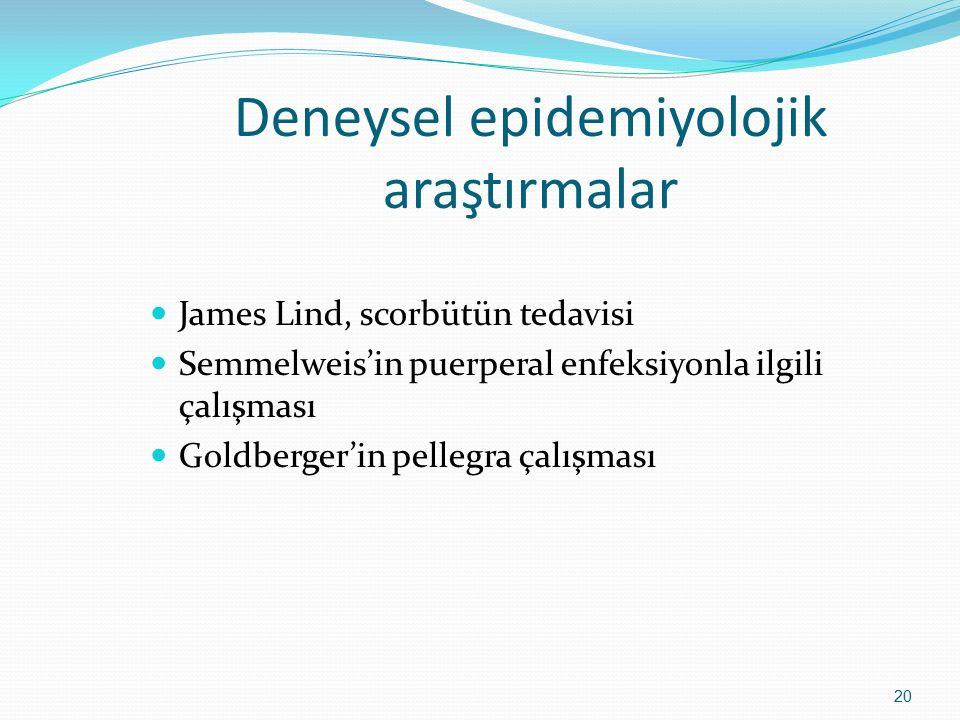 Deneysel epidemiyolojik araştırmalar James Lind, scorbütün tedavisi Semmelweis'in puerperal enfeksiyonla ilgili çalışması Goldberger'in pellegra çalış