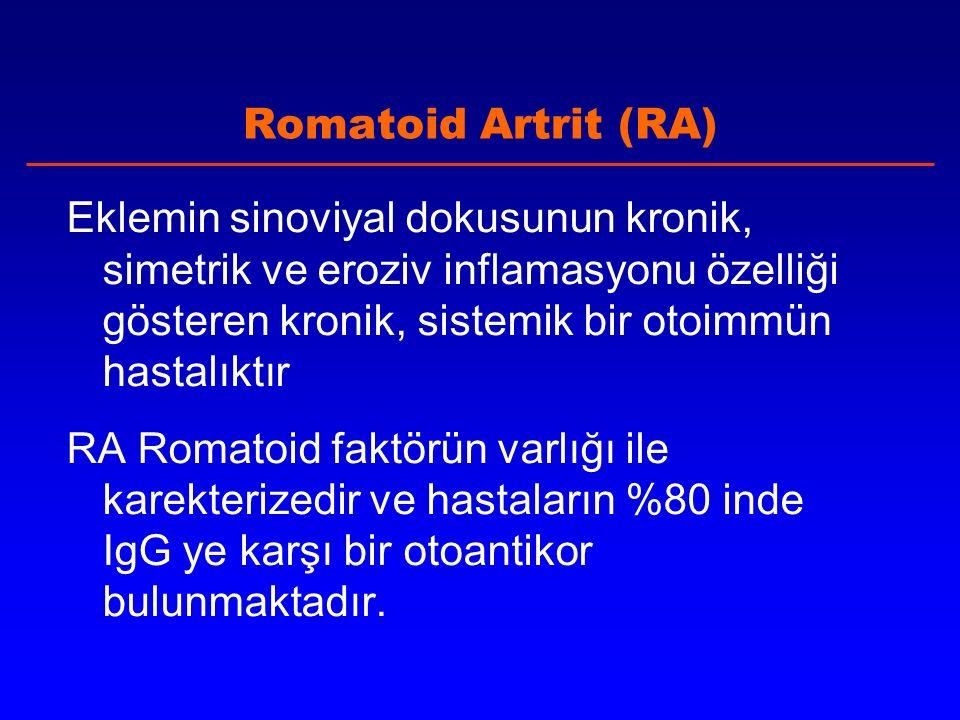 Romatoid Artrit (RA) Eklemin sinoviyal dokusunun kronik, simetrik ve eroziv inflamasyonu özelliği gösteren kronik, sistemik bir otoimmün hastalıktır RA Romatoid faktörün varlığı ile karekterizedir ve hastaların %80 inde IgG ye karşı bir otoantikor bulunmaktadır.