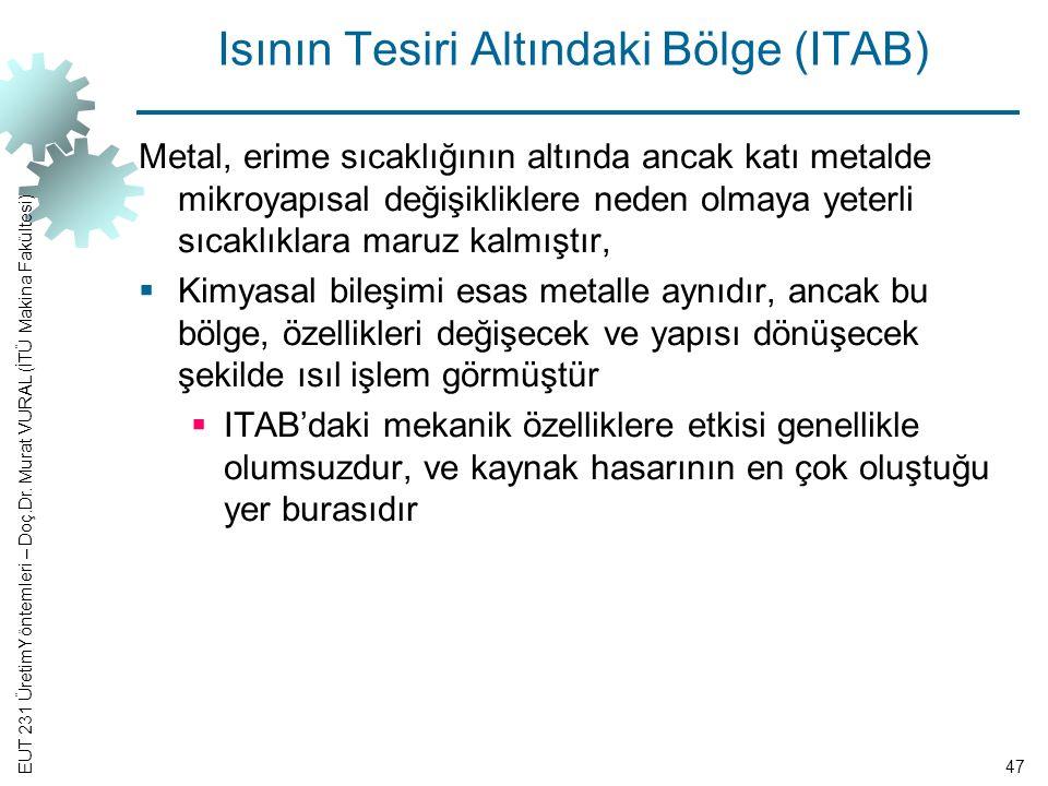EUT 231 ÜretimYöntemleri – Doç.Dr. Murat VURAL (İTÜ Makina Fakültesi) Isının Tesiri Altındaki Bölge (ITAB) Metal, erime sıcaklığının altında ancak kat