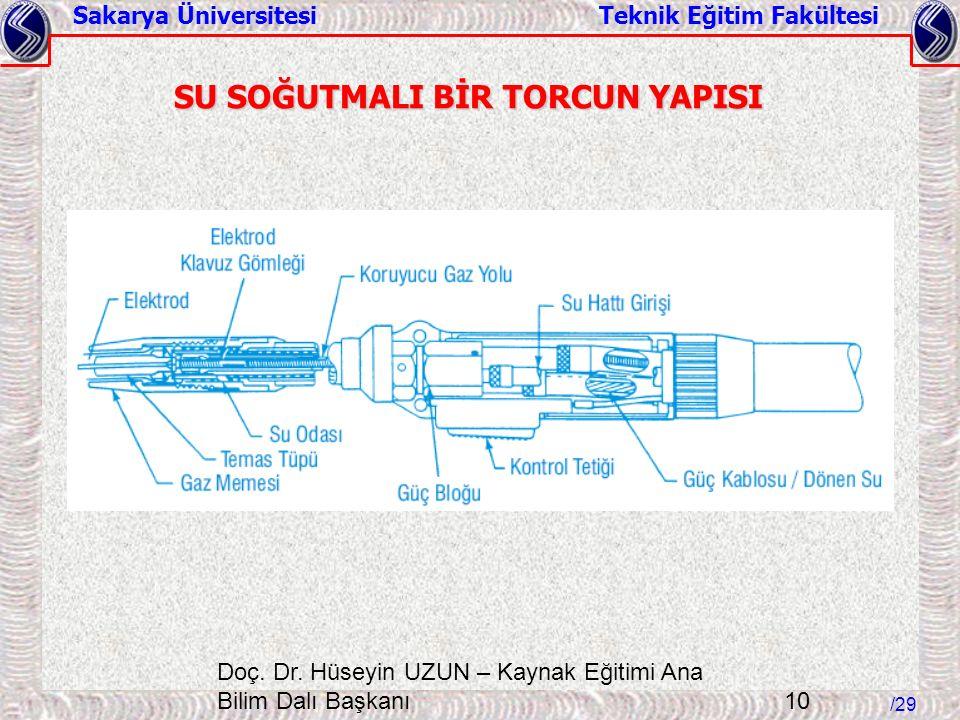 Sakarya Üniversitesi Teknik Eğitim Fakültesi /29 Doç. Dr. Hüseyin UZUN – Kaynak Eğitimi Ana Bilim Dalı Başkanı 10 SU SOĞUTMALI BİR TORCUN YAPISI