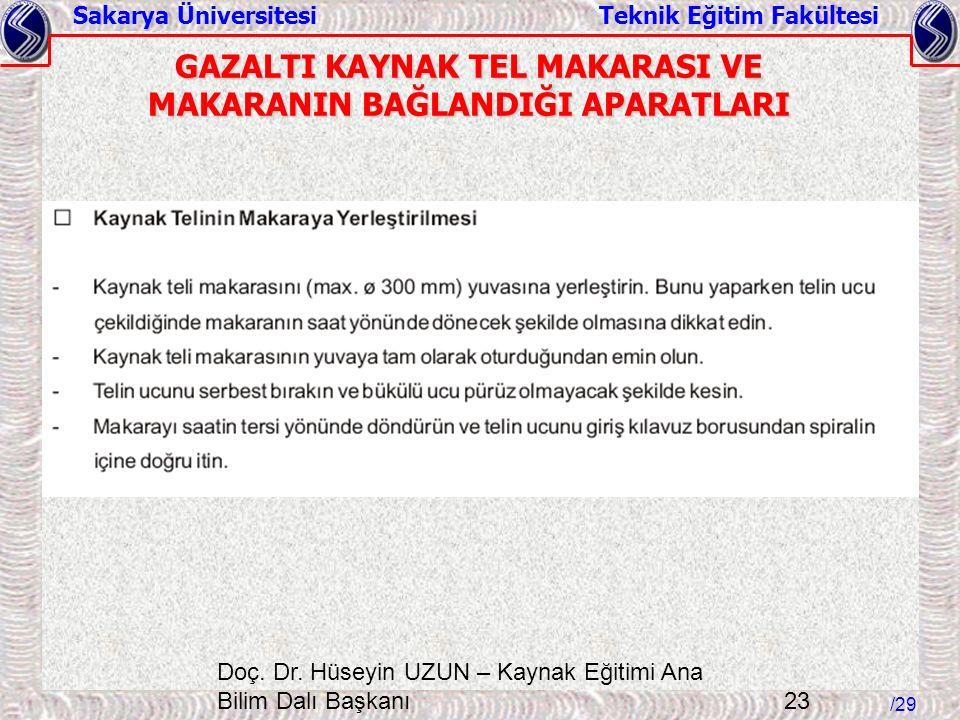 Sakarya Üniversitesi Teknik Eğitim Fakültesi /29 Doç. Dr. Hüseyin UZUN – Kaynak Eğitimi Ana Bilim Dalı Başkanı 23 GAZALTI KAYNAK TEL MAKARASI VE MAKAR