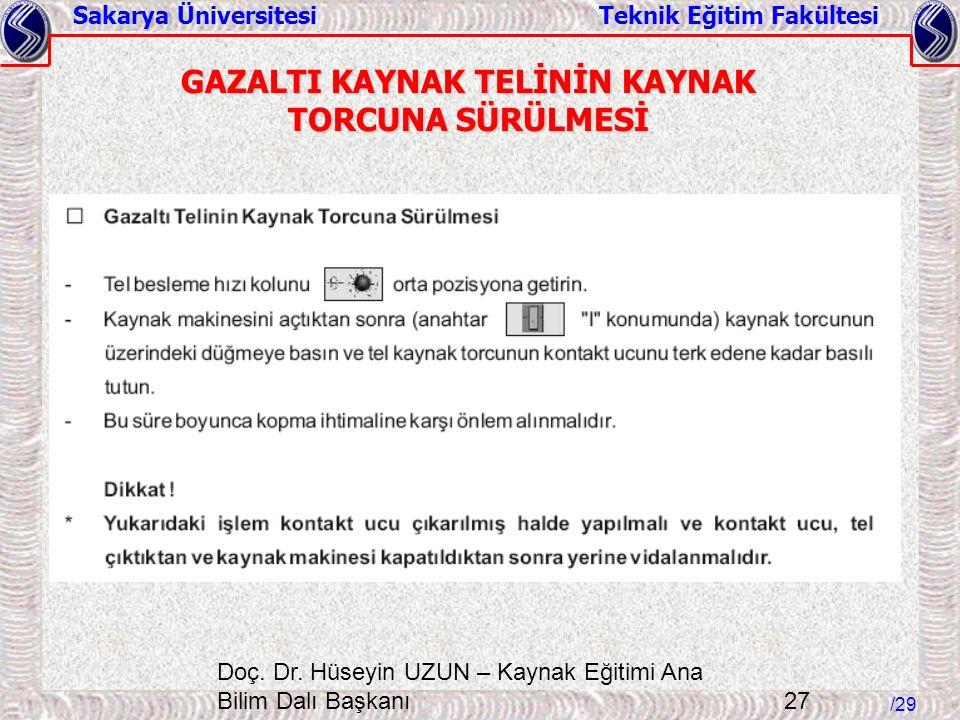 Sakarya Üniversitesi Teknik Eğitim Fakültesi /29 Doç. Dr. Hüseyin UZUN – Kaynak Eğitimi Ana Bilim Dalı Başkanı 27 GAZALTI KAYNAK TELİNİN KAYNAK TORCUN