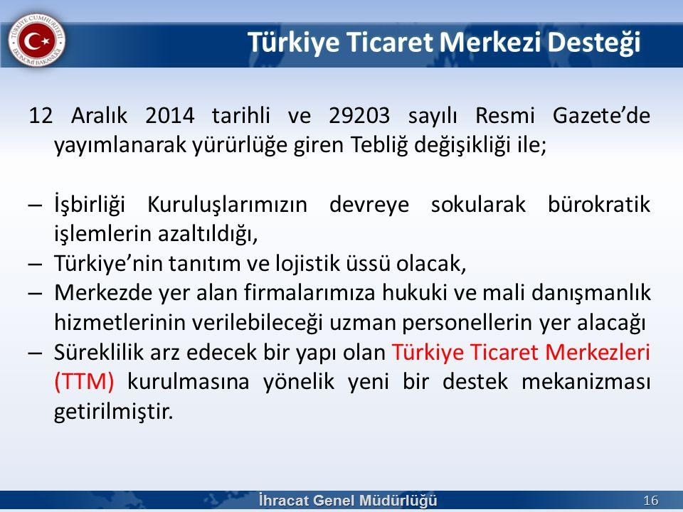 12 Aralık 2014 tarihli ve 29203 sayılı Resmi Gazete'de yayımlanarak yürürlüğe giren Tebliğ değişikliği ile; – İşbirliği Kuruluşlarımızın devreye sokularak bürokratik işlemlerin azaltıldığı, – Türkiye'nin tanıtım ve lojistik üssü olacak, – Merkezde yer alan firmalarımıza hukuki ve mali danışmanlık hizmetlerinin verilebileceği uzman personellerin yer alacağı – Süreklilik arz edecek bir yapı olan Türkiye Ticaret Merkezleri (TTM) kurulmasına yönelik yeni bir destek mekanizması getirilmiştir.